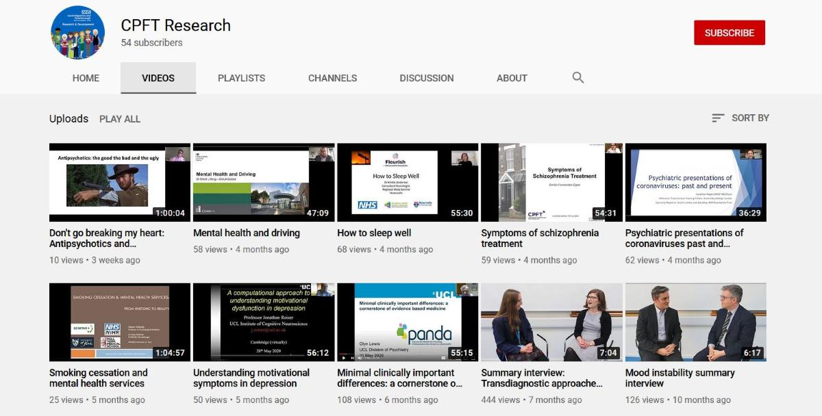 Visit the CPFT Research YouTube channel and see the latest videos