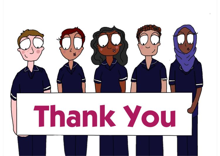 Nurses Holding a Thank You Banner