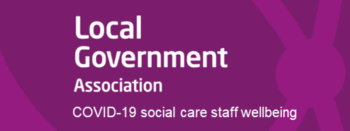 Button for Local Government Association webpage with Covid-19 wellbeing information for social care staff